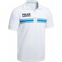 Polo Police Municipale P.M. ONE manches courtes blanc